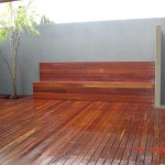 finished deck and rendered wall
